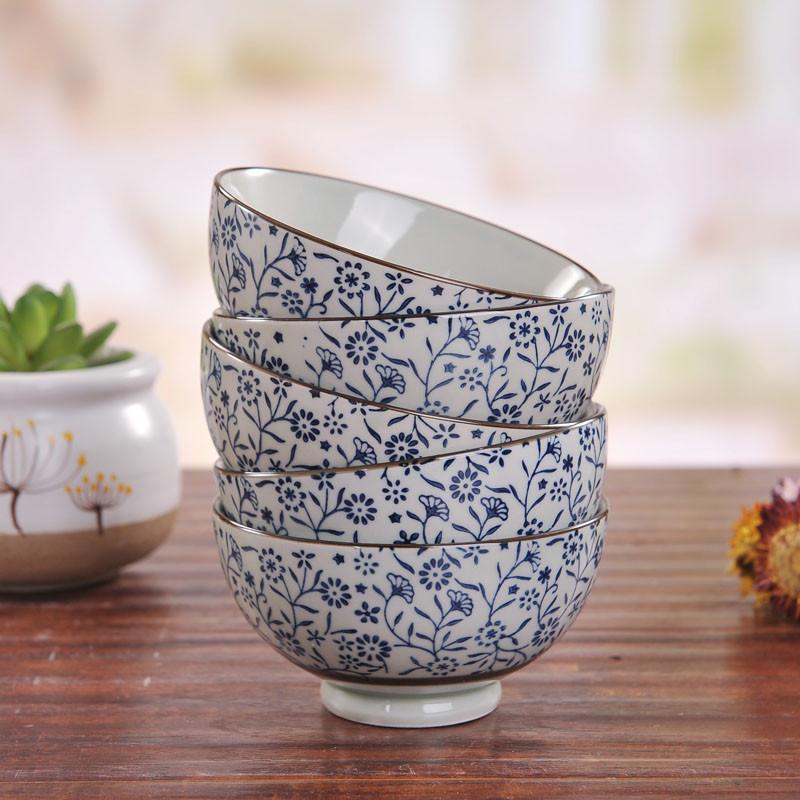 彩帮 景德镇 日式和风 陶瓷釉下彩米饭碗 手绘汤碗 宜家碗韩婉蓝富贵5