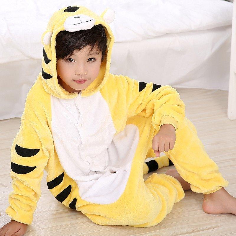 起司猫黄老虎动物连体睡衣亲子卡通家居服冬儿童可爱毛绒如厕法兰绒