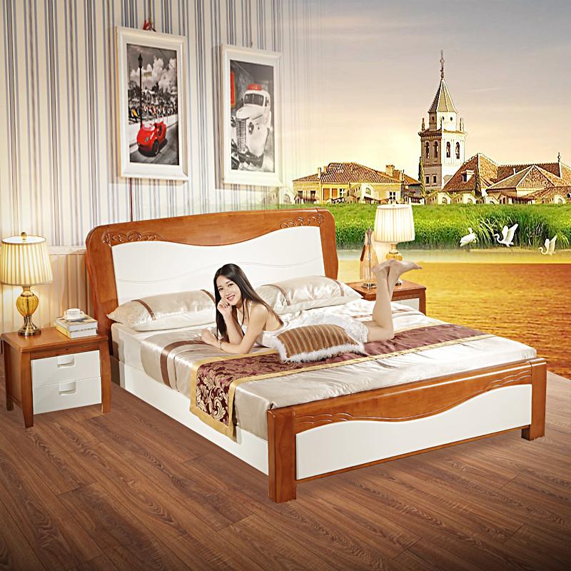 白色地中海实木床双人1.5米成人板式1.8米橡胶木美式乡村婚床