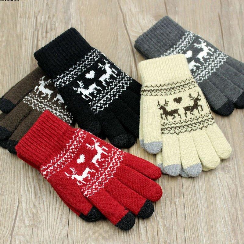 2016新款韩版冬天时尚韩版毛线手套男女士可爱针织加厚加绒保暖全五指