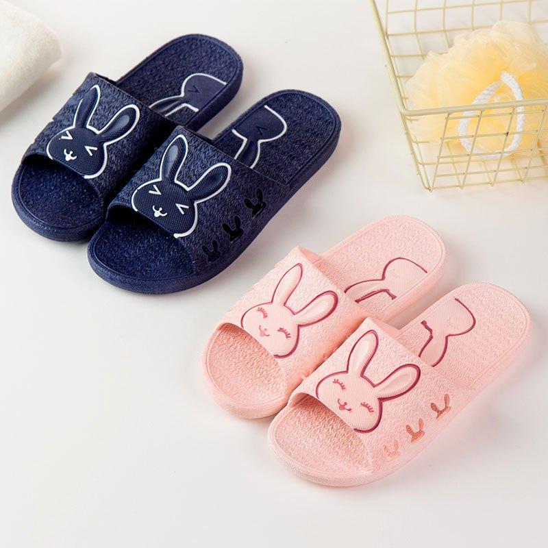 家用防滑软底平跟浴室洗澡男夏天冲凉拖鞋百搭情侣糖果色可爱兔子拖鞋