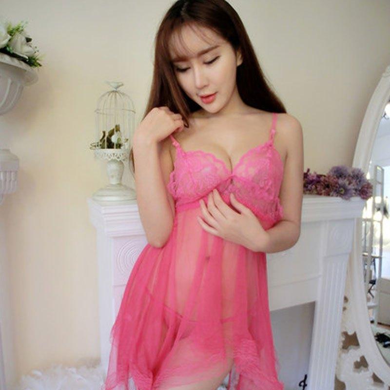 2017年新款性感透视v领细致蕾丝吊带内衣透明薄纱情趣