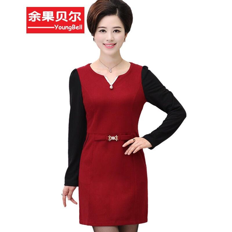 余果贝尔2016韩版中年妈妈装秋装长袖连衣裙