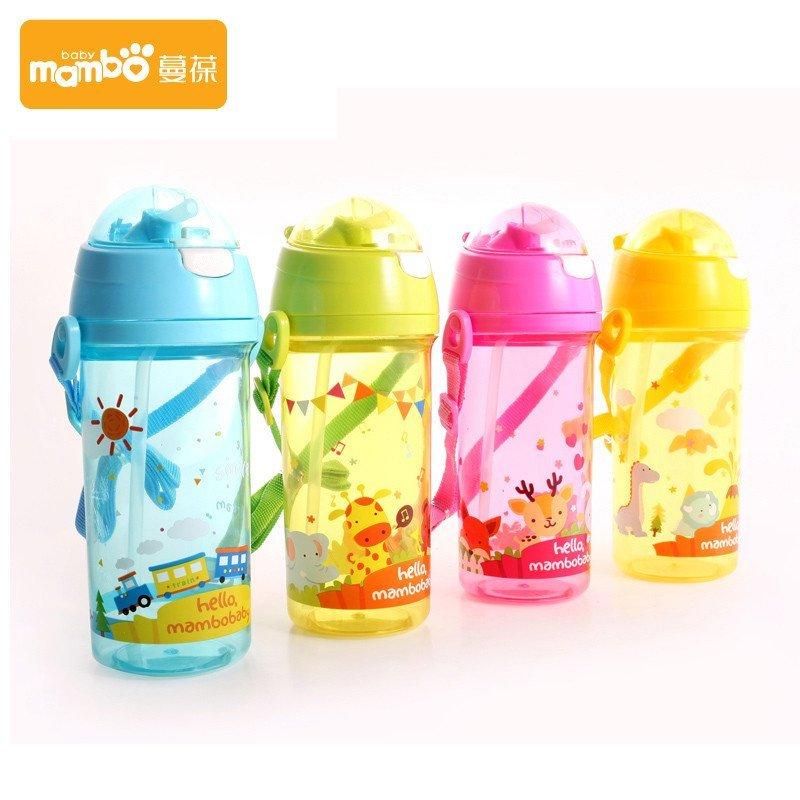 蔓葆 婴儿防漏吸管杯卡通动物水杯小孩儿童水瓶 宝宝喝水学生饮杯