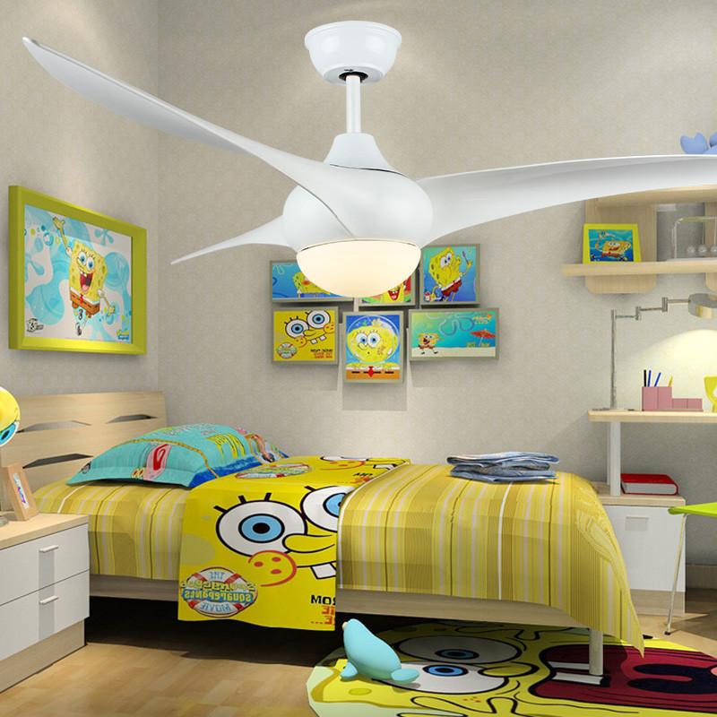 儿童梦幻简约吊扇灯 led遥控静音风扇灯白色公主房幼儿园电风扇灯图片
