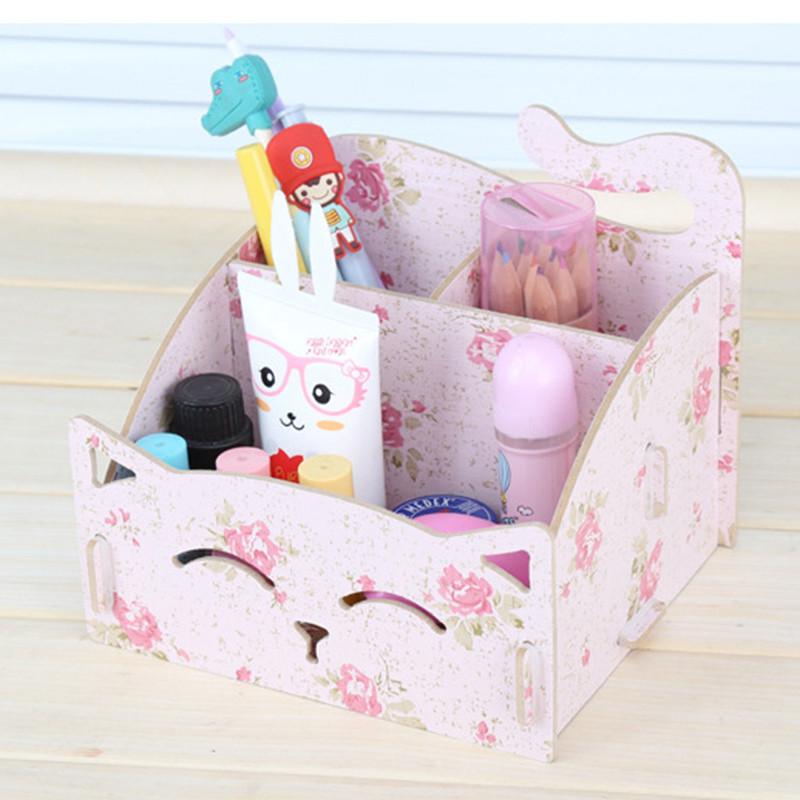 桌面猫咪木质收纳盒 可爱笔筒杂物收纳整理箱 三格办公桌面整理盒