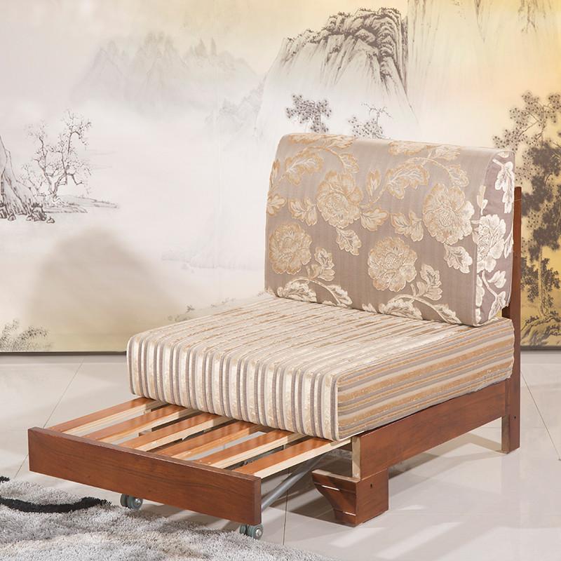 胡桃木实木沙发床