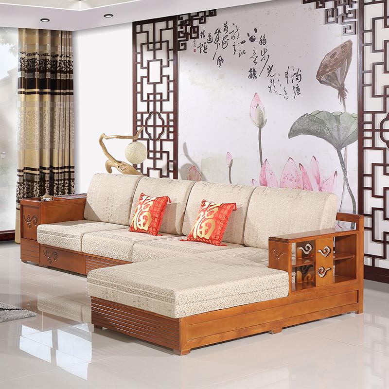 爱绿居 现代中式客厅储物沙发 布木拐角沙发 实木贵妃