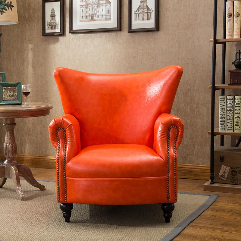 爱绿居 美式单人沙发 铆钉皮艺沙发小户型客厅家具老虎椅休闲椅
