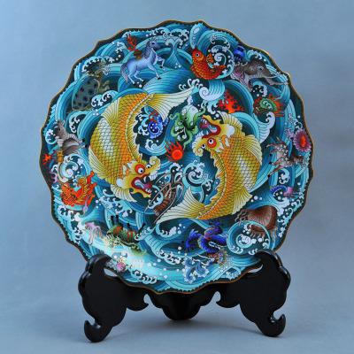 中工美 工藝品 景泰藍 魚龍盤 北京禮物送外賓