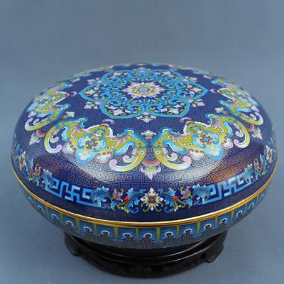 中工美 工藝品 景泰藍 蝠壽紋(藍色)圓盒 北京禮物送外賓