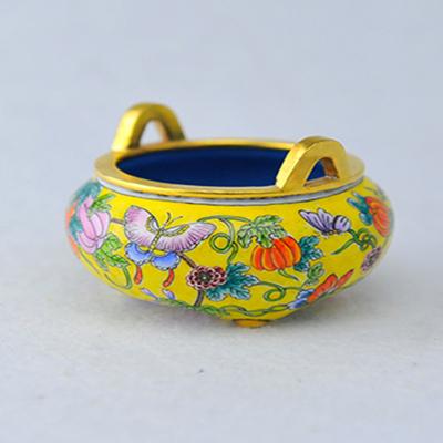 中工美 畫琺瑯三足香爐瓜果滿園黃色 仿古 工藝品 禮物 家居擺件