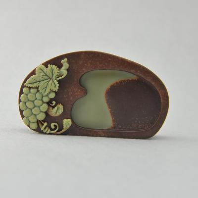 """中工美 砚台""""葡萄""""紫袍玉带石 工艺品 文房用品 礼物"""