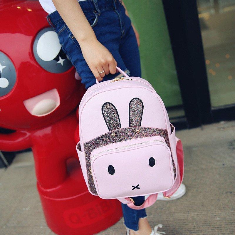 夏季日韩新款pu休闲包可爱卡通萌兔包少年校园出游双肩包