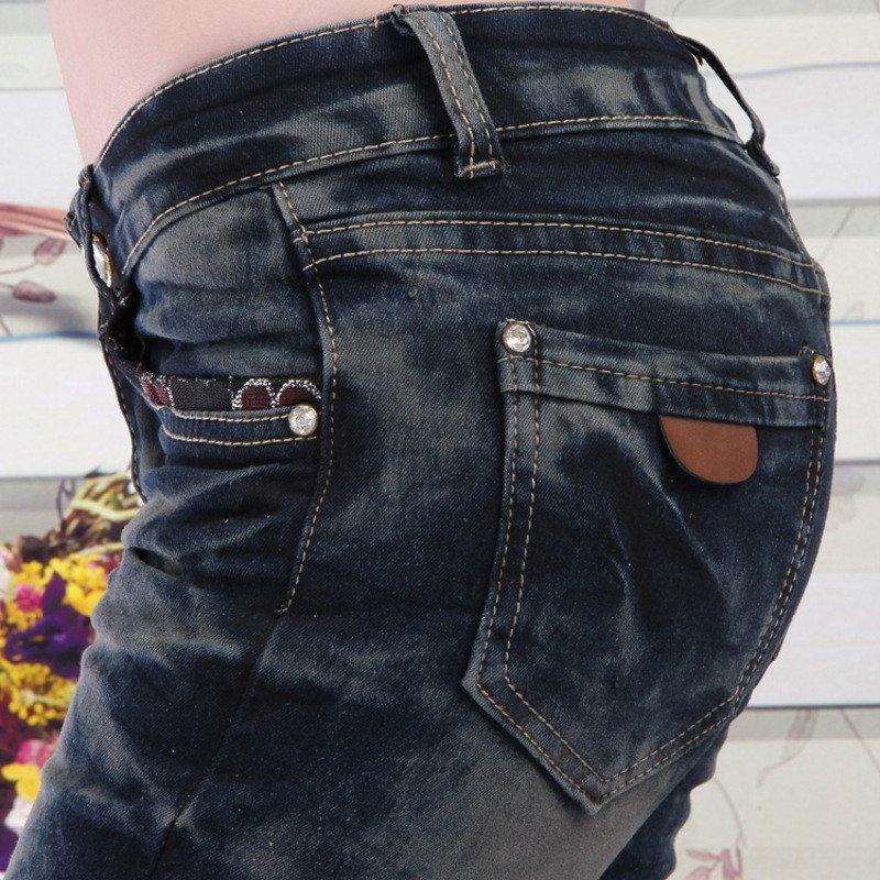 蔚缇新款女装牛仔裤弹力中裤水洗牛仔小脚铅笔裤