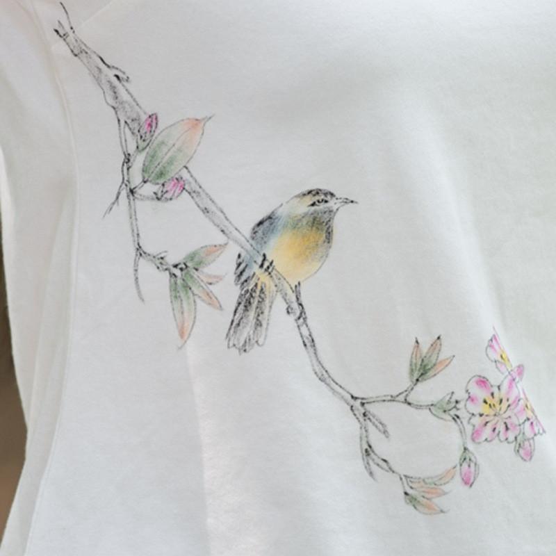 蔚缇2016新款中国风百搭实用手绘中式盘扣打底衫