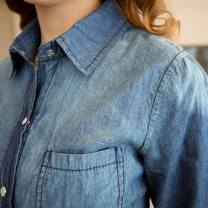 蔚缇夏渐变色韩版修身显瘦牛仔衬衫衬衣外套女