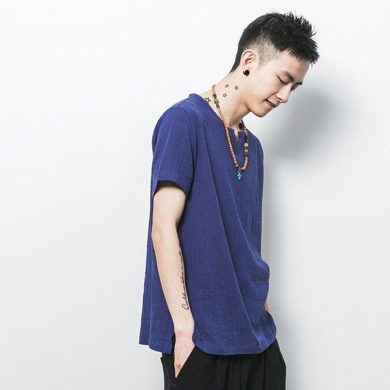 紫锐 原创日系男装复古中国风亚麻纯色圆领打底休闲t恤短袖男棉麻tee