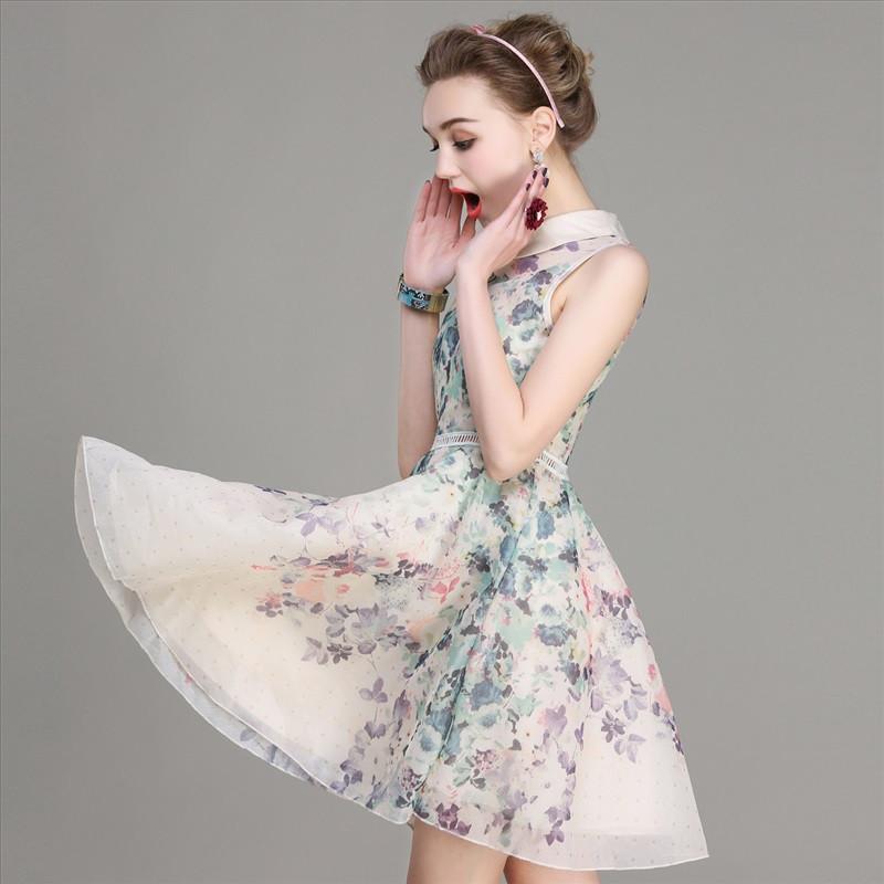 2016夏季新款女士清新淡雅欧根纱连衣裙甜美可爱娃娃领a字裙韩版修身