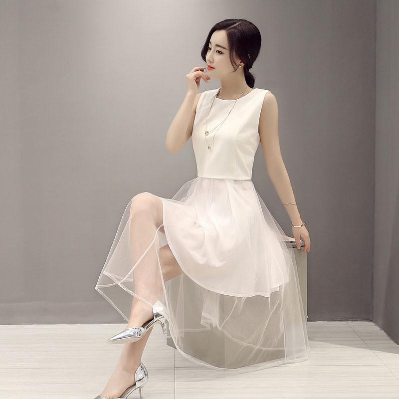 无袖连衣裙韩版修身网纱拼接仙女裙气质优雅真丝裙子高贵优雅蓬蓬裙