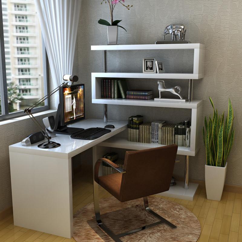创意简约办公旋转电脑桌 白色烤漆电脑桌 书桌书柜组合写字台式桌