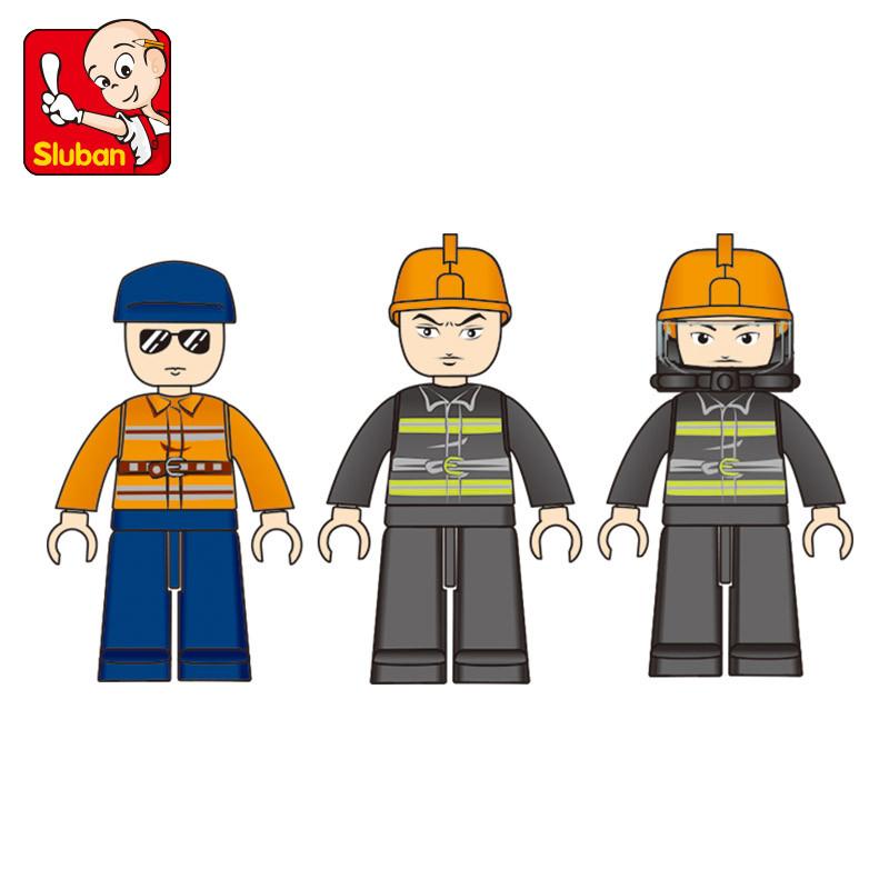 快乐小鲁班拼插积木消防队直升飞机积木消防车 儿童益智玩具