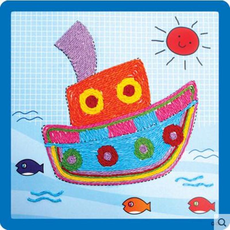 纸绳画 儿童手工制作材料 幼儿园粘贴画 绳子艺术玩具 船