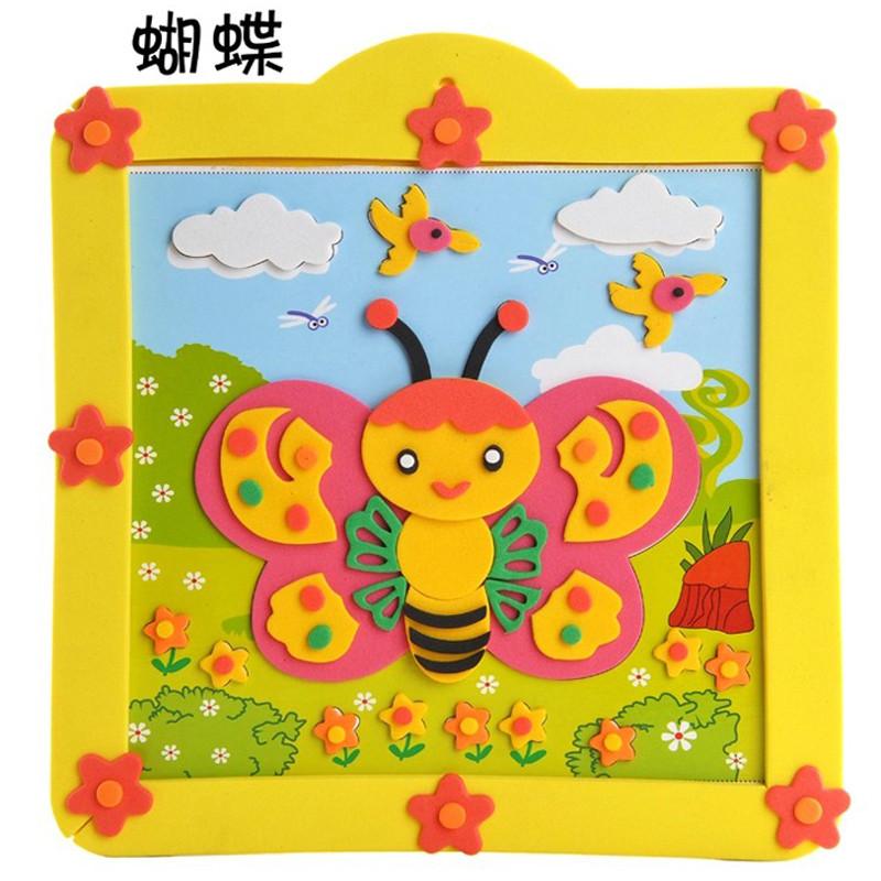 动物相框立体贴画贴纸儿童手工制作材料包玩具 小鸟