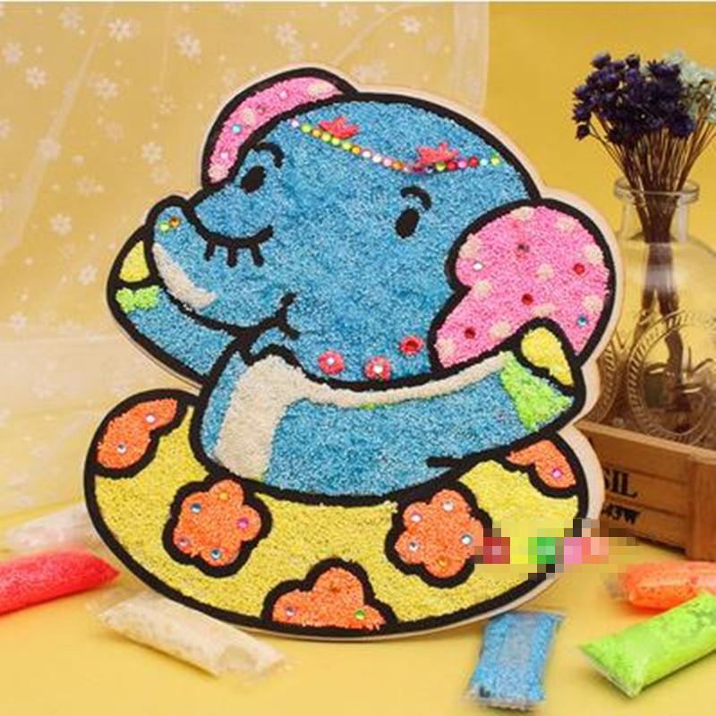 木板雪花泥画珍珠画 魔色板 儿童手工玩具 小象