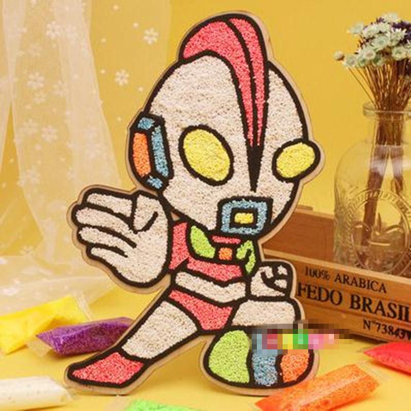 木板雪花泥画珍珠画 魔色板 儿童手工玩具 奥特曼