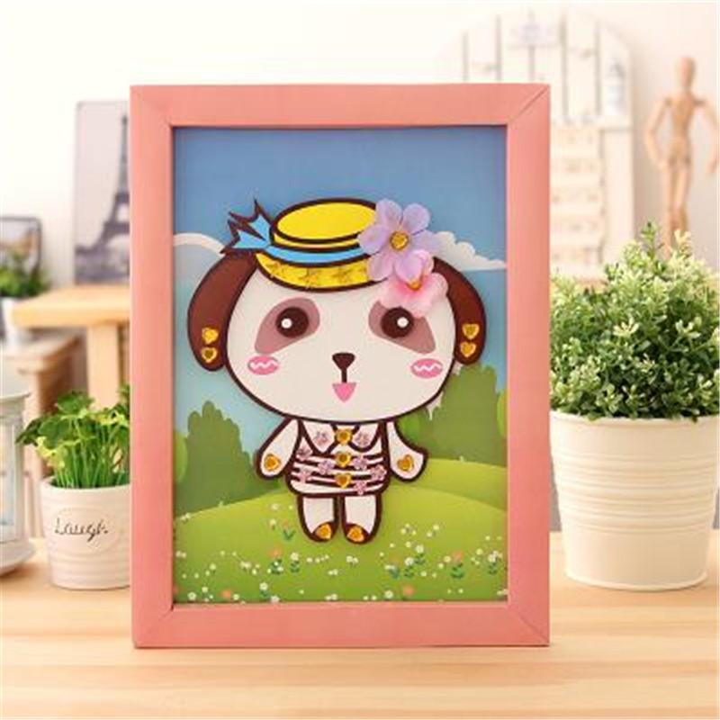动物卡通贴画 儿童手工小羊创意制作立体贴相框拼图 功夫小熊