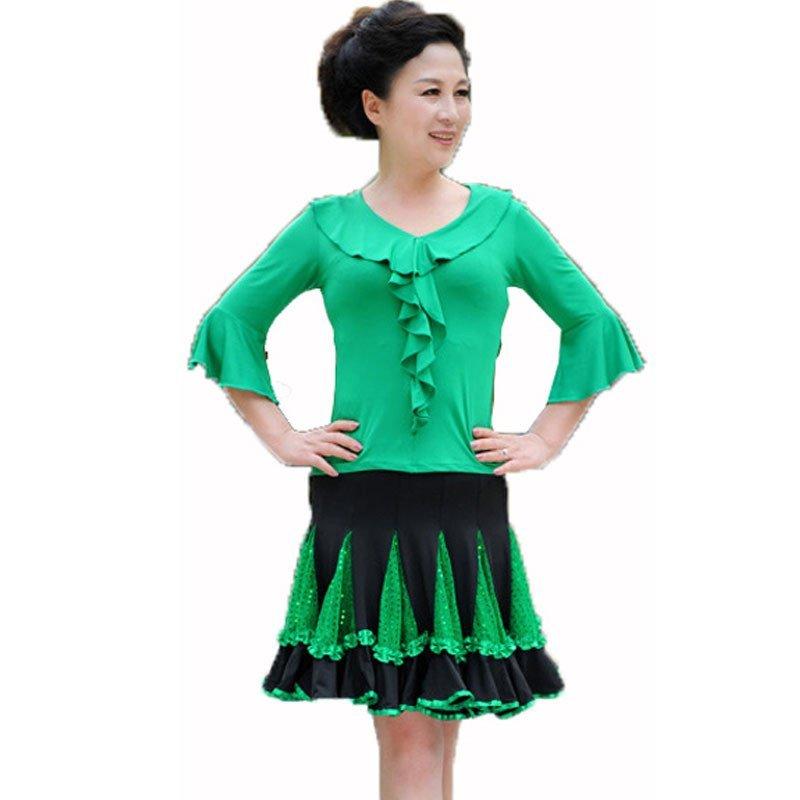 春夏广场舞套装 中袖亮片广场舞裙夏中老年大码广场舞服蹈服装演出服图片