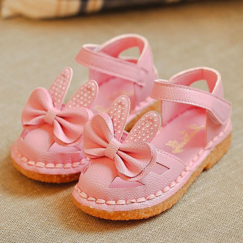 宏浩2016夏季新款可爱兔耳朵包头软底女童凉鞋婴儿宝宝公主鞋儿童鞋子