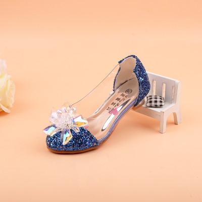 宏浩2016新款儿童玻璃亮钻公主鞋高跟鞋灰姑娘水晶鞋女童亮片皮鞋单鞋