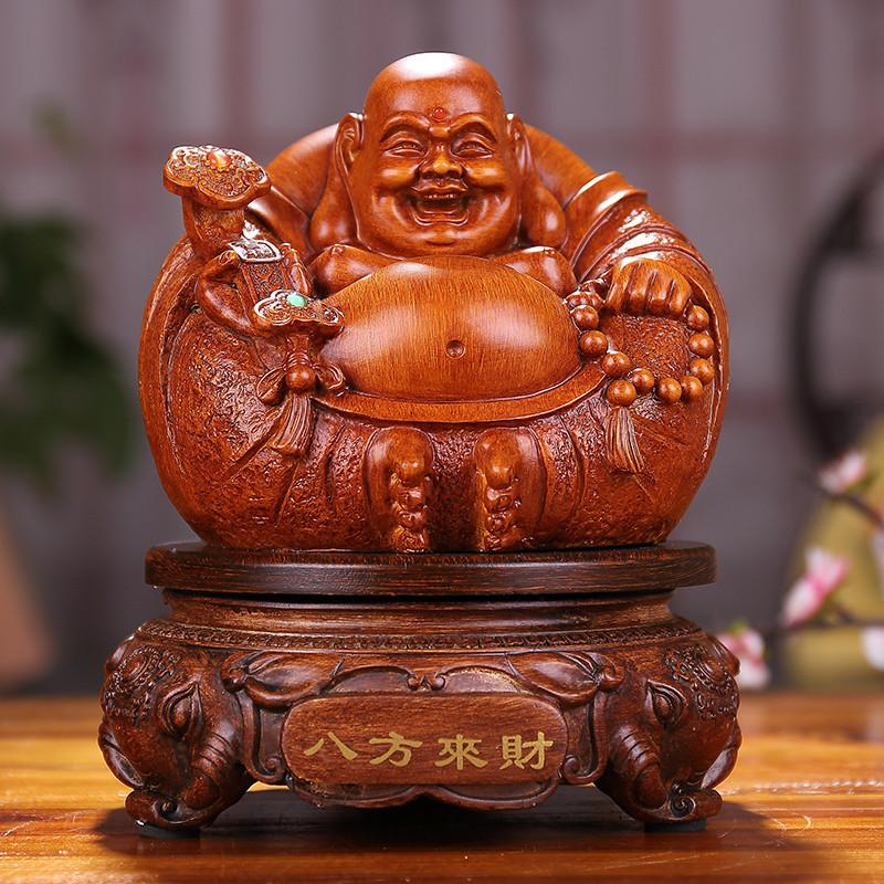 2016木雕佛像工艺品家居客厅装饰品吉祥物 招财弥勒佛家居摆件