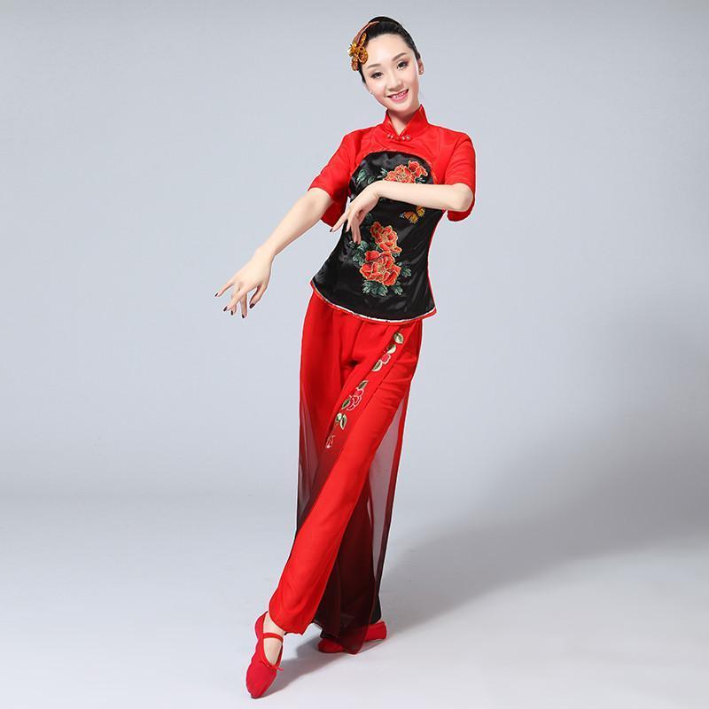中老年舞蹈演出服装_古典舞蹈服装2017新款中老年秧歌服演出服扇子舞民族广场舞成人女