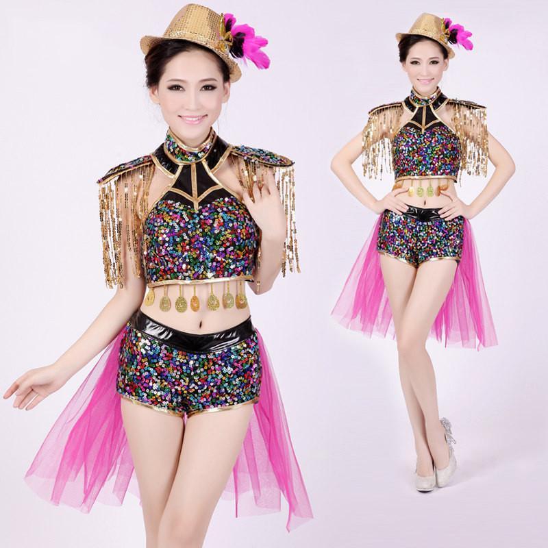 现代舞蹈爵士舞服装女歌手服性感时尚潮流亮片舞台装演出服