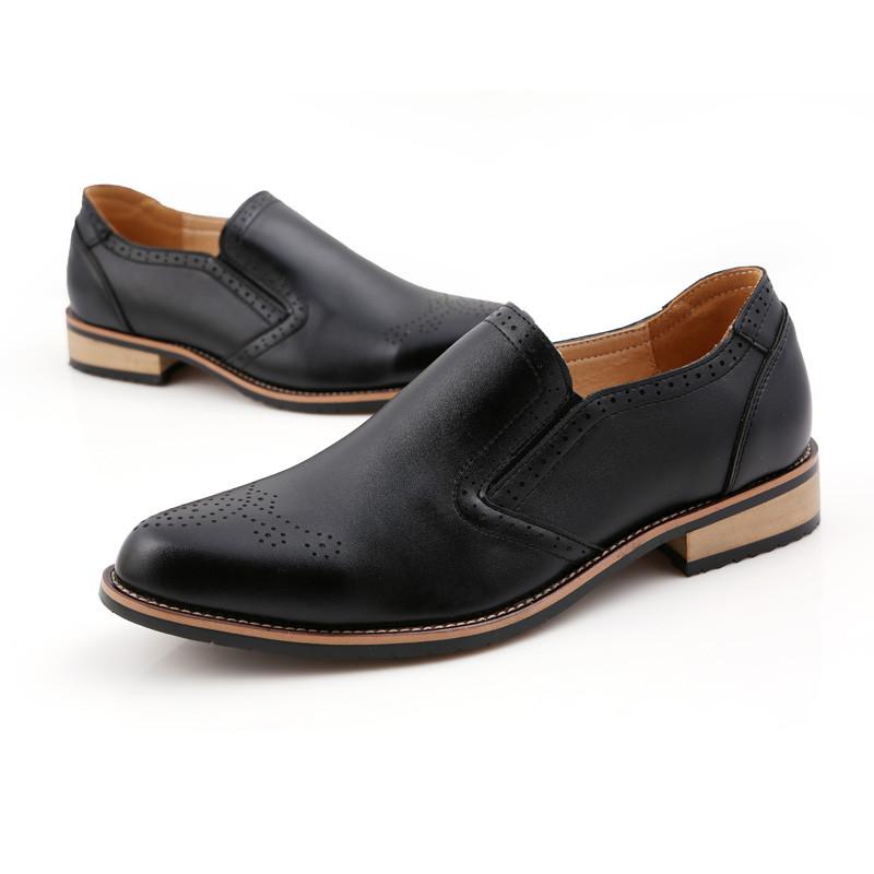 木偶情缘男士布洛克雕花尖头时尚休闲青年小皮鞋秋季懒人鞋一脚蹬单鞋