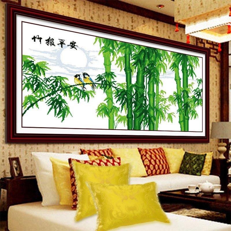 竹报平安十字绣竹子 简约现代新款客厅大幅刺绣挂画 图案大全孚日
