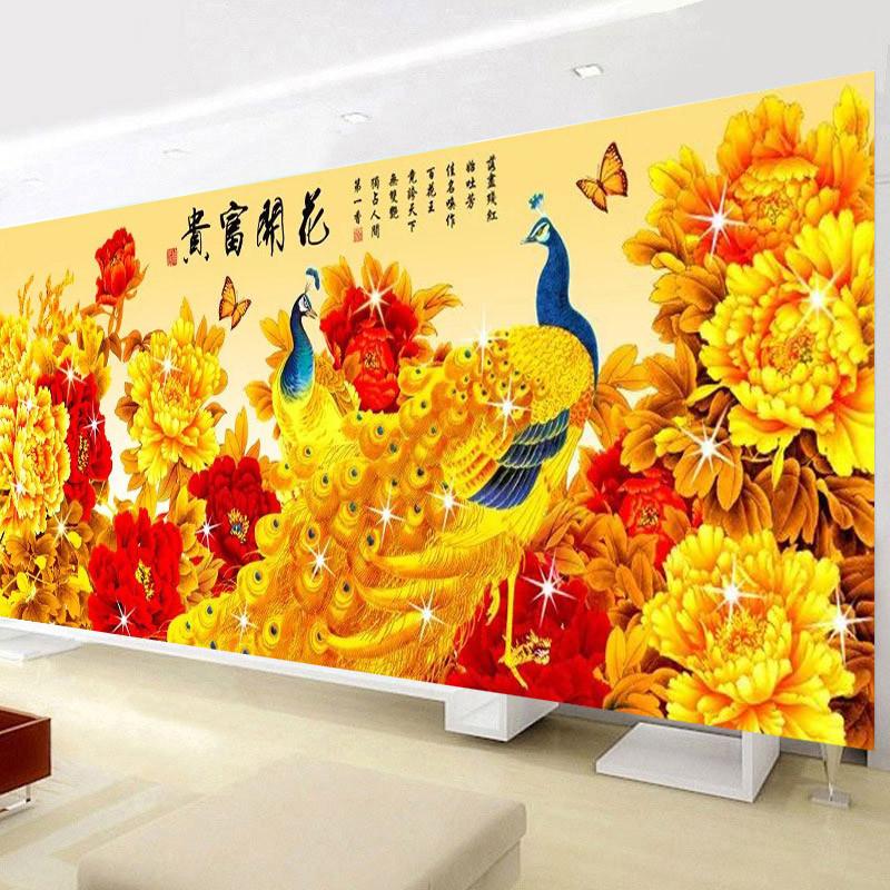 牡丹花开富贵十字绣新款客厅沙发背景墙画居家挂画装饰画大幅凤凰绣2