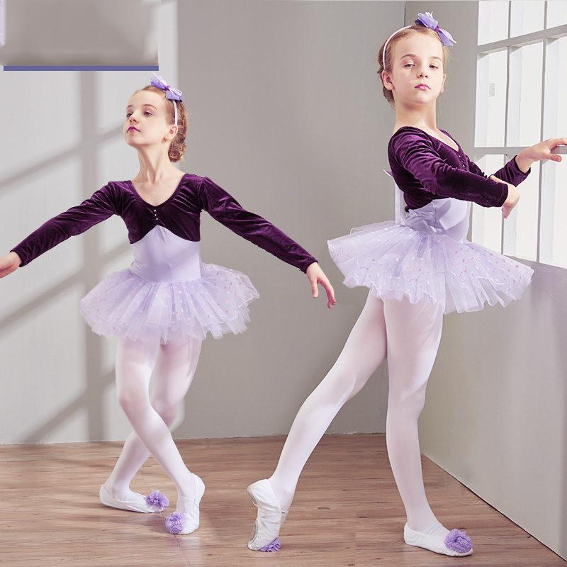 秋冬季儿童舞蹈服装女童长袖练功服少儿芭蕾舞裙体操考级服