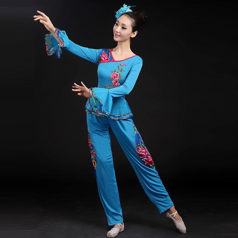 中老年舞蹈演出服装_演出服女广场舞套装秧歌服中老年大码舞蹈服装民族舞扇子舞表演服