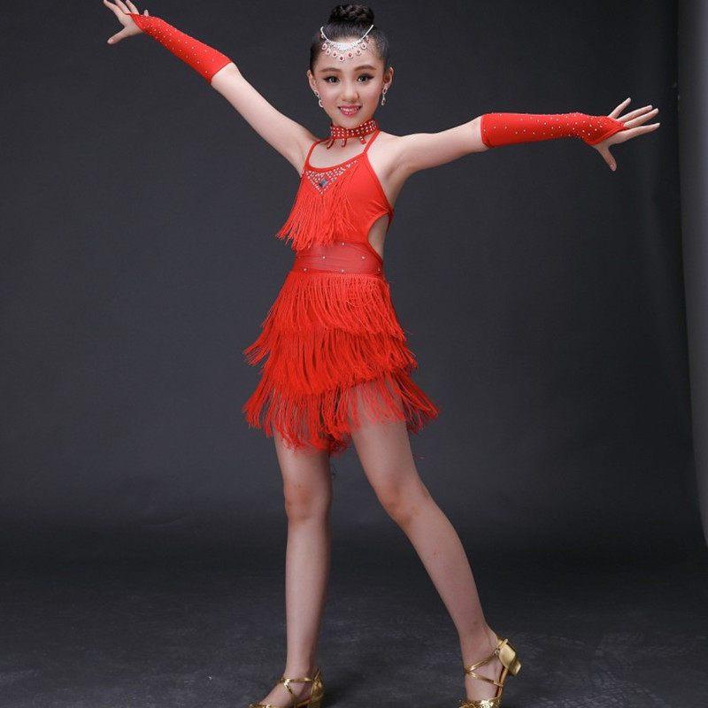 拉丁舞裙儿童演出服女孩2017少儿表演比赛服装新款亮片流苏跳舞蹈