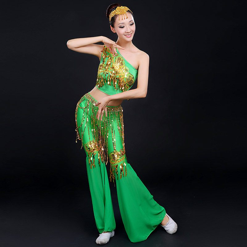 新款女舞蹈服装傣族舞独舞民族舞演出服成人流苏亮片古典舞现代舞