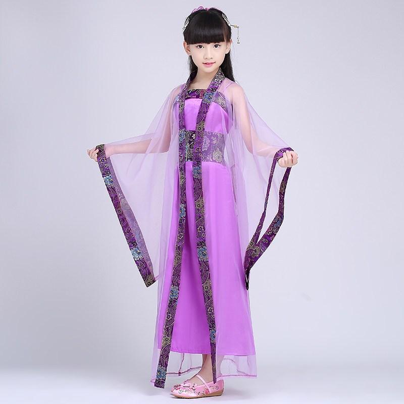 兒童古裝女童七仙女公主裙古箏舞臺演出表演服裝兒童漢服貴妃寫真