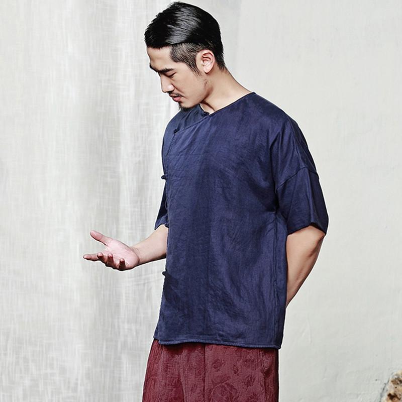 男士短袖衬衫2017新款民国复古衫无领设计亚麻盘扣衬衣潮