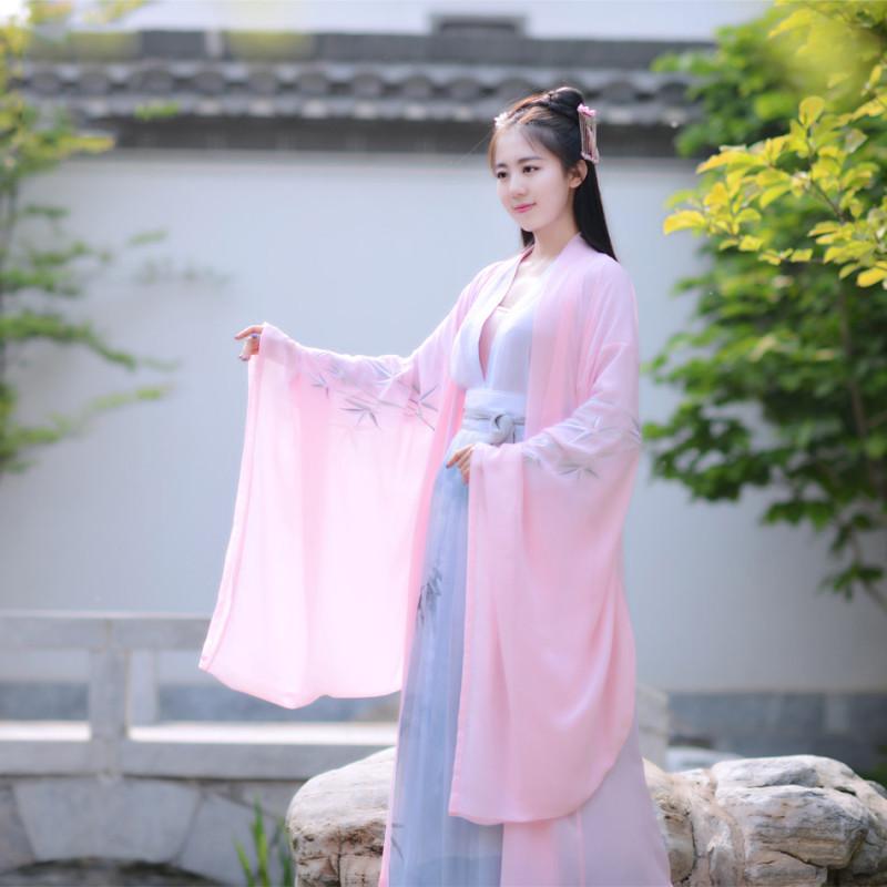 汉服女装 襦裙大袖衫 绣竹纹襦水墨裙