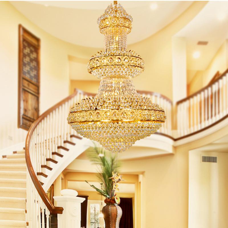 铂鑫 复式楼大吊灯 欧式水晶吊灯 金色客厅灯大气别墅