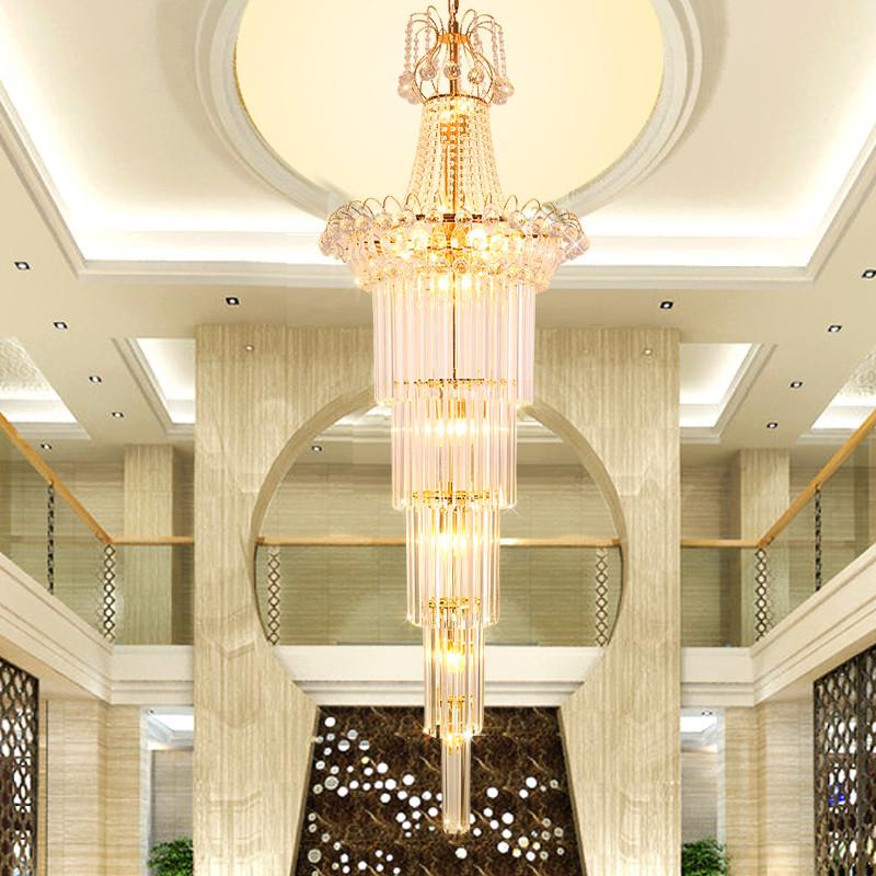 铂鑫 欧式复式楼楼梯灯 楼中楼长吊灯 客厅水晶大吊灯