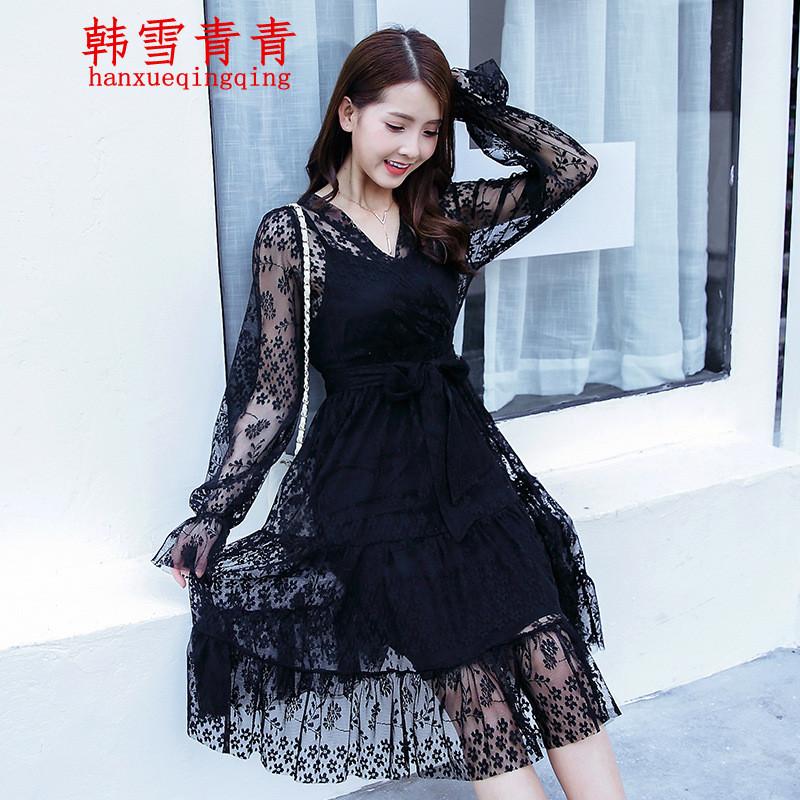 蕾丝蓬蓬裙连衣裙中长款